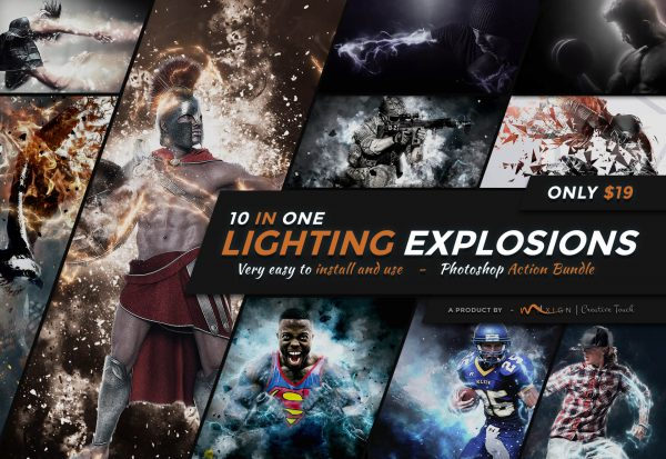 10-In-1 Lighting Explosions Photoshop Actions Bundle