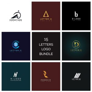 15 unique letters logo bundle