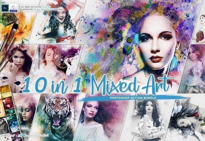 10-In-1 Mixed Art Photoshop Actions Bundle