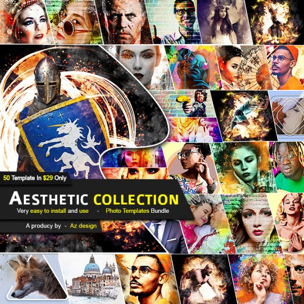 50 in 1 Aesthetic Collection Photo Template Bundle