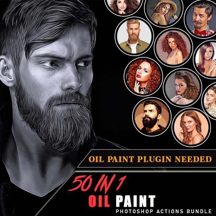 50 In 1 Oil Paint Photoshop Actions Bundle