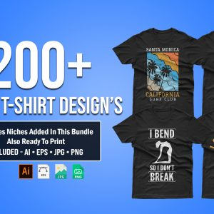 200+ Mixed Editable T-shirt Designs Bundle