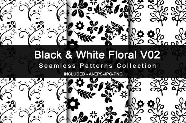 Black & White Floral V02