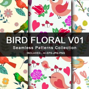 Bird Floral V01 Seamless Patterns Collection