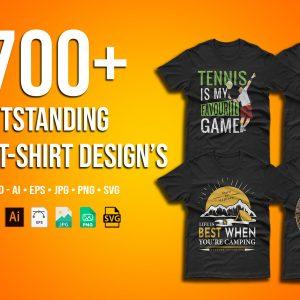 700+ Outstanding Mega T-Shirt Designs Bundle