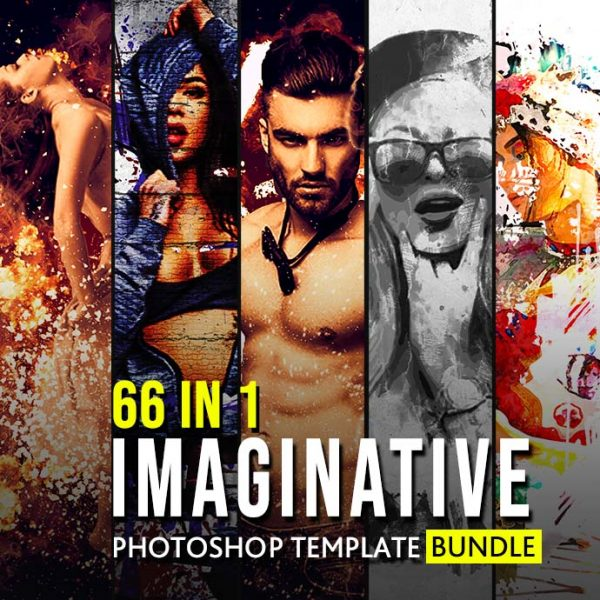 66 In 1 Imaginative Photoshop Template Bundle