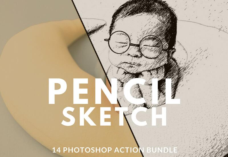 14 Pencil Sketch Action BUndle