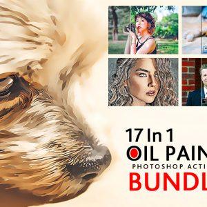 17 In 1 Oil Paint Photoshop Actions Bundle